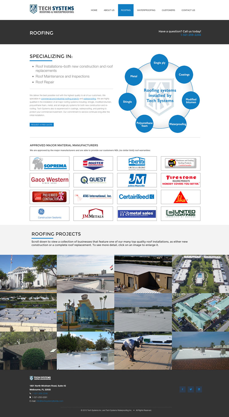 Tech Systems Roofing Page
