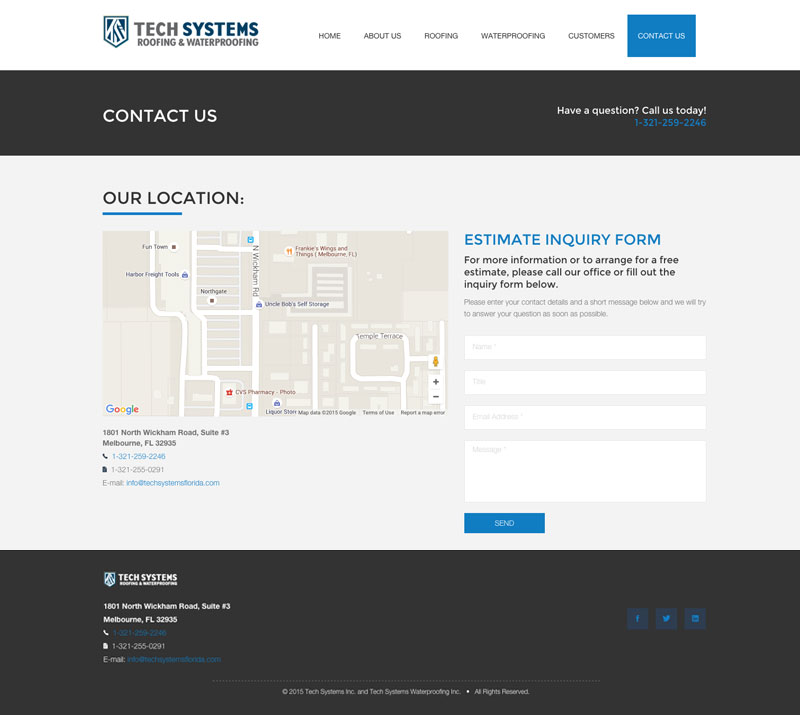 Tech Systems Contact Page